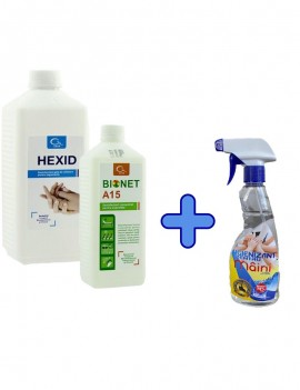 KIT: Dezinfectant Hexid 1L + Bionet A15 + Igienizant