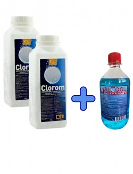 KIT: 2 x Clorom 200 tablete + Alcool vol. 70% - GM Aviz  Biocide