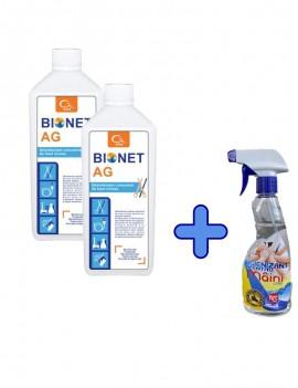 KIT 2 x BIONET AG  FLACON 1 L + Igienizant Maini - Aviz BIOCIDE